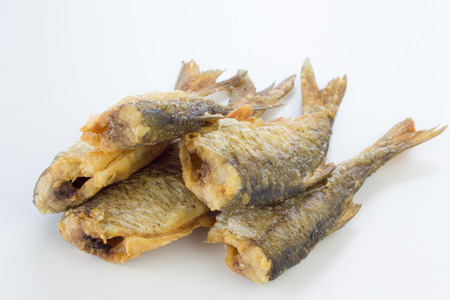 roach: Deep fried roach fish isolated on white. Stock Photo