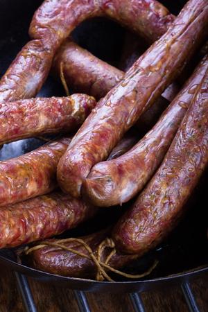 Traditional Polish pork sausages just taen from the smoker. Reklamní fotografie