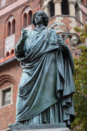 Nicolaus Copernicus statue in Old Town, Torun, Poland.