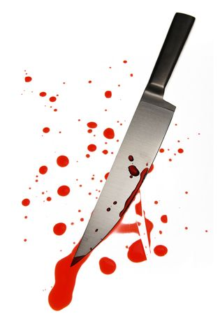 blood spattered knife Stock Photo