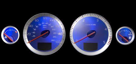 chilometro: manopole blu isolate su nero