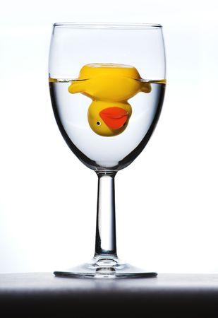 upside down duck in wine glass