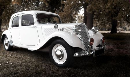 valet: vintage dream wedding car (selective soft focus)