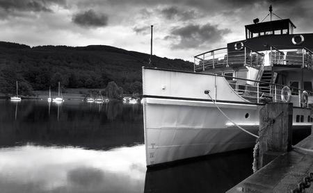 steamer on lake, black and white