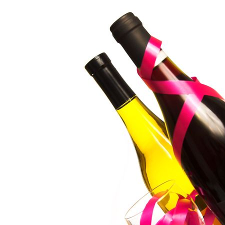 Wine Bottles, Glass and Ribbons on a Plain White Background