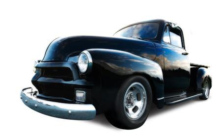 hotrod: black pickup truck Editorial