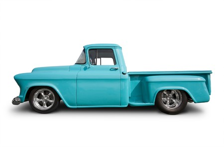 side view of hot rod pick up truck photo