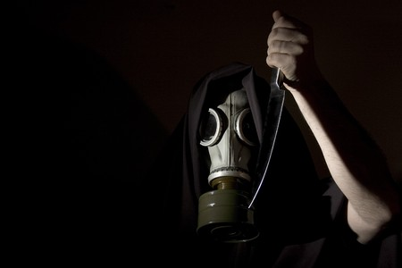 creepy masked man with knife Stock Photo - 4165707