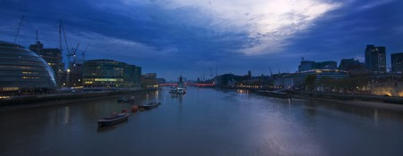 london after sunset, including city hall and HMS Belfast