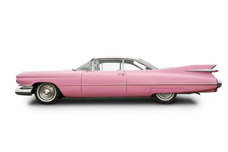 coche clásico: cincuenta coche rosa
