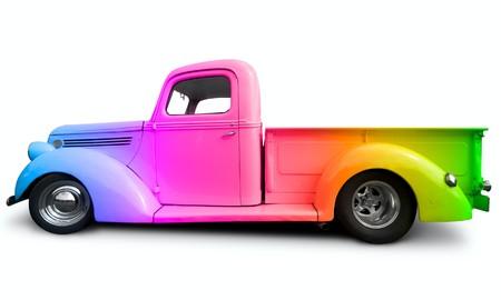 pickup truck: rainbow truck