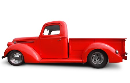 side view of red hot rod pick up truck