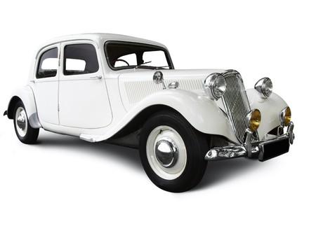 vintage wedding car on white  Editorial