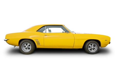 chevrolet: side view of yellow hot rod