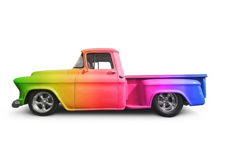 pick up truck: Rainbow Truck Stock Photo