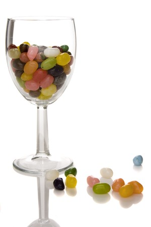 jelly beans in wine glass Stock Photo