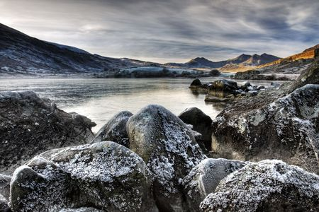 winters: Snowdon on a winters day Stock Photo