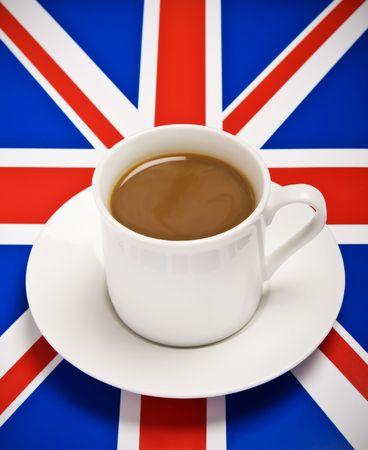 Tea Cup on the Union Jack Flag Stock Photo
