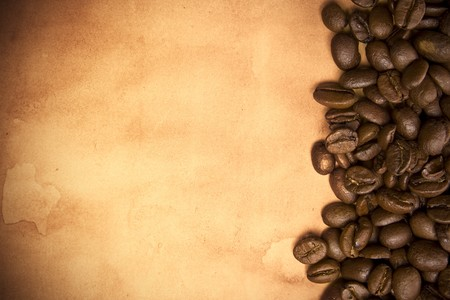 Coffee beans on a grunge background
