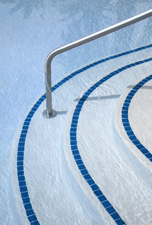 Swimming pool with tiled stairs close up  Stock Photo
