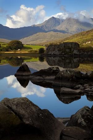 mountain lake in wales uk  Stock Photo