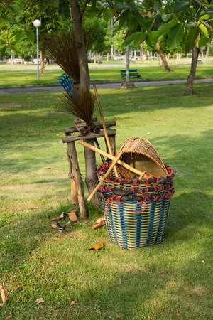 waste basket: Bloom, Dust Pan and Waste Basket the Park Stock Photo