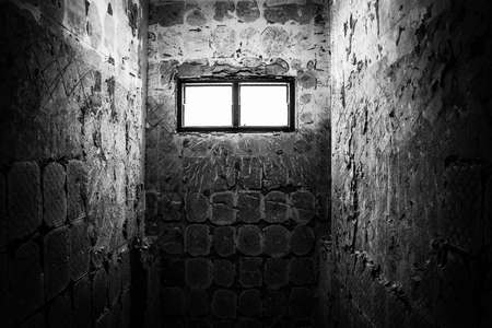 gaol: Light through window in old restroom with black and white color concept