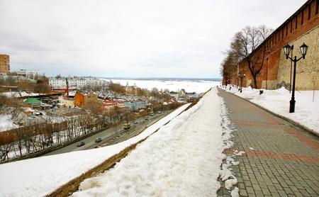 April walkway in Kremlin Nizhny Novgorod Russia photo
