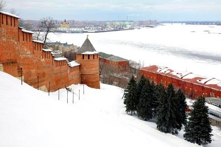 March view to port Nizhny Novgorod from Kremlin Russia photo