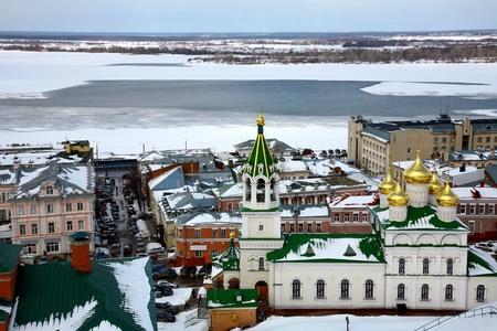 novgorod: April view Church Nativity of John Precursor Nizhny Novgorod Russia