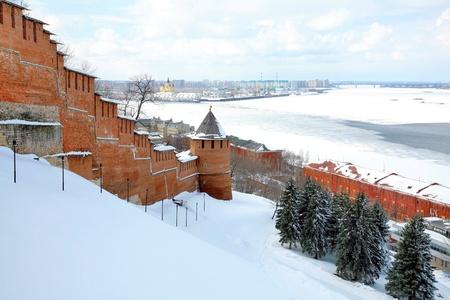 nizhny novgorod: April view to port Nizhny Novgorod Russia