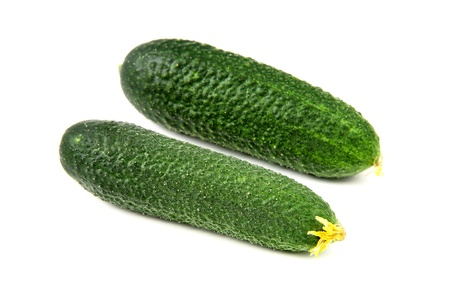 Two cucumbers on white background photo