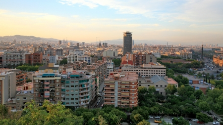 Twilight view of Barcelona Spain photo