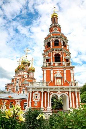 nizhny novgorod: Stroganov Church in flowers Nizhny Novgorod Russia Stock Photo