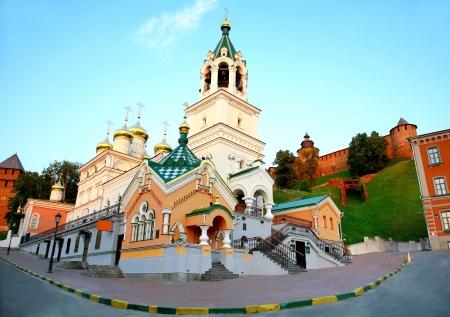 nizhny novgorod: John Baptist Church and Kremlin Nizhny Novgorod Russia Stock Photo
