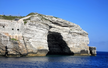 Sea arch in cliff Bonifacio Corsica France photo
