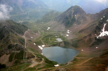meditative: Mountain lake in the mist in the French Pyrenees