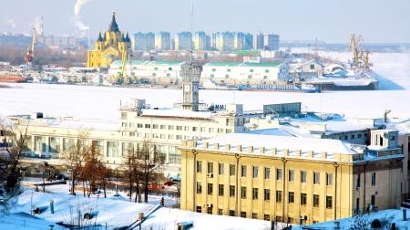 February view of port Strelka Nizhny Novgorod Russia photo
