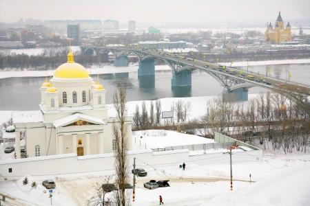 nizhny novgorod: January view Annunciation Monastery Nizhny Novgorod Russia Stock Photo