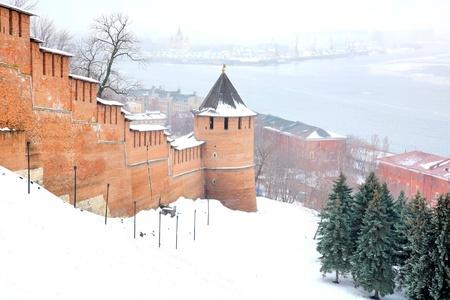Mist view Strelka from Nizhny Novgorod Kremlin Russia photo