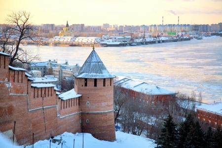 November view of Strelka from Nizhny Novgorod Kremlin Russia photo