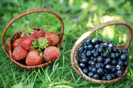 Two baskets - strawberries and blueberries photo