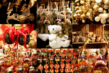 gulden: Collage of christmas toys Stock Photo