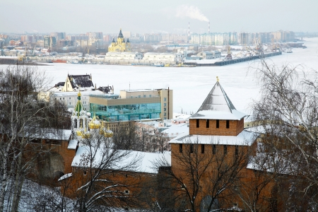 Winter view of Arrow  Strelka  from Nizhny Novgorod Kremlin, Russia  photo