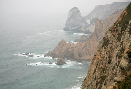 roca: Mist over ocean in Cape Roca in Portugal