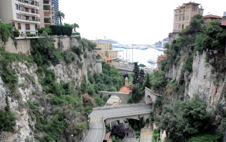 Monaco - view from railroad station to port Hercule photo