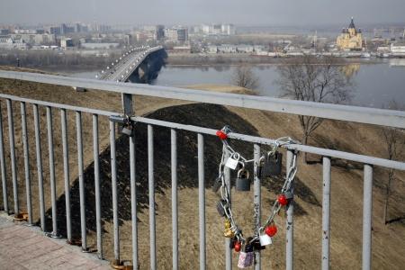 Russia. Spring. Nizhny Novgorod: locks on the bridge lovers. Embankment Fedorovsky.  photo