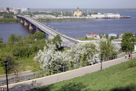 Nizhny Novgorod-Strelka, Cathedral A.Nevsky, Kanavinsky Brige. Spring. May.  photo
