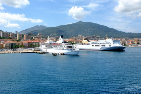 White liners in the sea in Corsica Ajaccio France