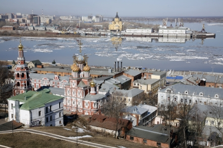 View of Nizhny Novgorod in spring, romantic city. photo